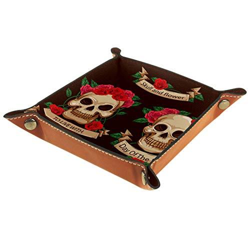 Haminaya Bandeja de dados, plegable de piel sintética con ruedas para juegos de dados, almacenamiento en el hogar, día de los muertos, flor de calavera de azúcar en México