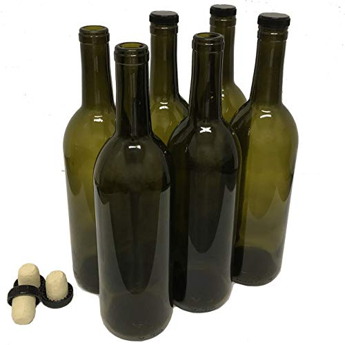 Wine Bottles with Corks, Antique Green, 750ml - Pack of 6