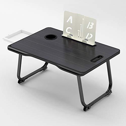 BEICHENG Escritorio Ajustable para computadora portátil, Escritorio multifunción para computadora portátil con estantería con portavasos y cajón, Mesa de Estudio para Oficina y Cama