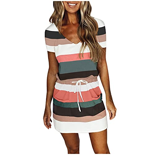 Damen Kleid mit V-Ausschnitt Elegant Kurze Strand Freizeitkleider Sommerkleid Streifen Loose T-Shirt Kleid Minikleid Junge Mädchen Party Strandkleider Partykleid Freizeitkleid