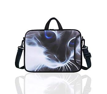 10-Inch Neoprene Laptop Tablet Shoulder Messenger Bag Case Sleeve for 9.7 10 10.1 10.5  Inch Netbook/Ipad Pro/Air  Grey Cat