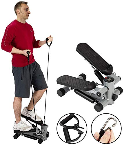 JINGOU Stair Stepper, Aerobic Fitness Step Air Stair Climber Stepper Exercise Machine Equipment with Resistance Bands and Twisting Action for Men Women