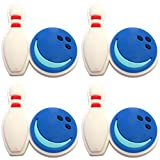 Four (4) of Bowling Ball and Pin Rubber Charms for Wristbands and Shoes
