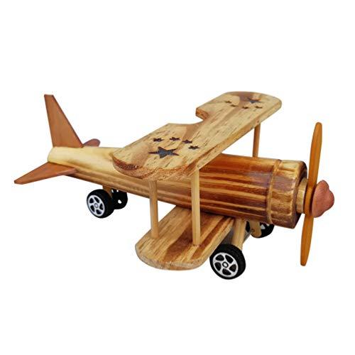 HEALLILY Holz Flugzeug Modell Flugzeug Vintage Holz Modell Spielzeug Flugzeug Spielzeug Handwerk Desktop-Dekoration Geschenk für Kinder