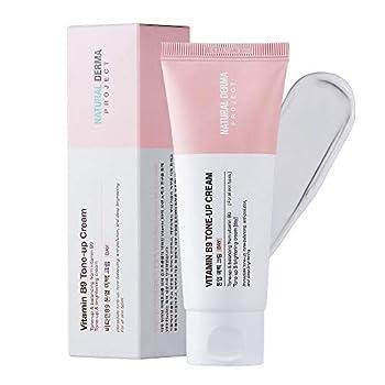NATURAL DERMA PROJECT Vitamin B9 Tone-Up Cream Skin Tone Balancing Korean Beauty Skin Prep Hydration For Dark Spots No Animal Testing - 50ml