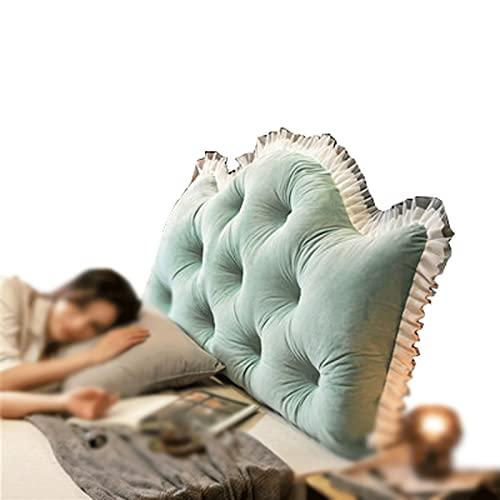 ZWDM Cojín de respaldo de encaje de algodón para cabecera de respaldo, cómodo apoyo, almohadas, extraíble, lavable (color: verde, tamaño: 150 x 70 x 18 cm)