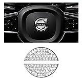 BLINGOOSE Adesivo per volante, per Volvo S60, V60, XC60, S90, V90, XC90, XC40, V40, S80, in lega di zinco, con strass, argento, 2 pezzi