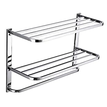 3-Tier Bathroom Shelf with Towel Bars Stainless Steel Wall Mounting Rack,29-1/4 Inch