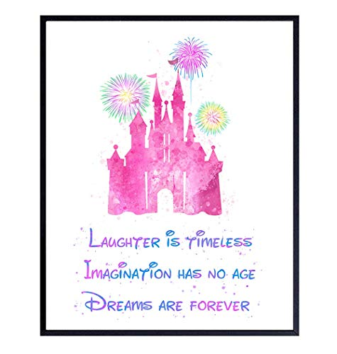 Walt Disney Quote - Cinderella Castle Wall Art Poster Print - 8x10 Cute Pink Girls Room, Bedroom Decoration, Home Decor - Inspirational Motivational Gift for Kids and Women - 8x10 Unframed Photo