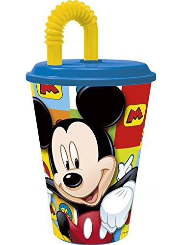 Mickey Mouse–Bicchiere con coperchio e canna 430ml, Stor 22030)