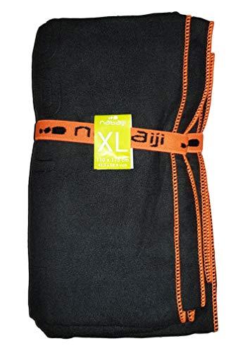 Nabaiji Mikrofaser Handtuch XXL Reisen Sport Schwimmen Wandern Schnelltrocknende Tücher aus Mikrofaser Ultra-leicht Strand/Gymnastik/Superabsorbierende Handtücher 110cm X 175cm (Schwarz)