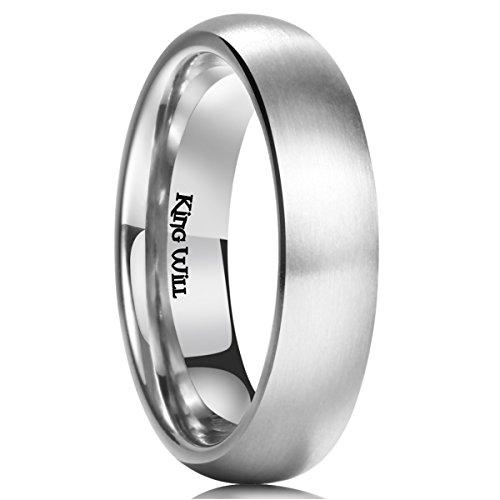 King Will Basic 5MM Titanium Ring Brushed/Matte Comfort Fit Wedding Band for Men 12.5