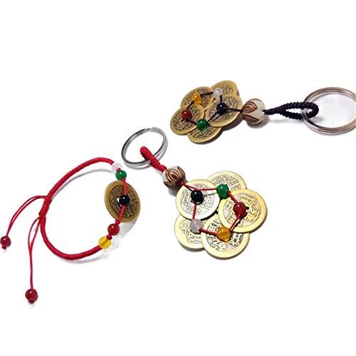 WANLIAN 3pcs chino Feng Shui monedas con sintetizador Jade...