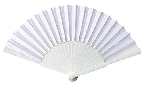 La Senorita Flamenco Fächer, Handfächer, Tanzfächer - Stoff und Holz XL verschiedene Farben (weiß)