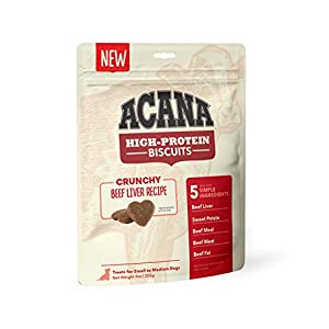 ACANA Crunchy Biscuits Dog Treats, Beef Liver Recipe, High Protein, Small, 9 oz, DAC3468-9OZ