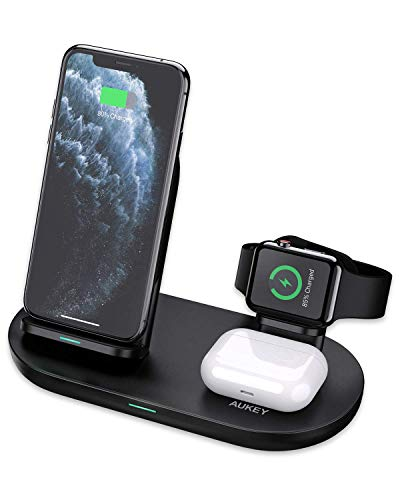 Aukey Caricatore wireless 3 in 1 per iPhone 12, iWatch, AirPods Pro, 4 in 1, ricarica rapida, certificato Qi per iPhone 11/X/XR, Samsung (adattatore non incluso) (Black)