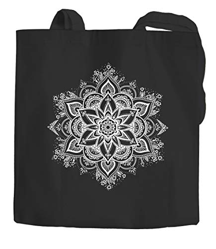 Autiga® - Bolsa de yute con diseño de mandala, bohemio, étnico, bolsa de algodón, bolsa de tela, color negro, 2 asas largas