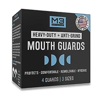 M3 Naturals Mouth Guard for Clenching Teeth at Night - Bite Guard Dental Guard Night Guard Whitening Trays - Night Guards for Teeth Grinding - Mouthguard Grinding Teeth BPA Free 4 Guards 3 Sizes