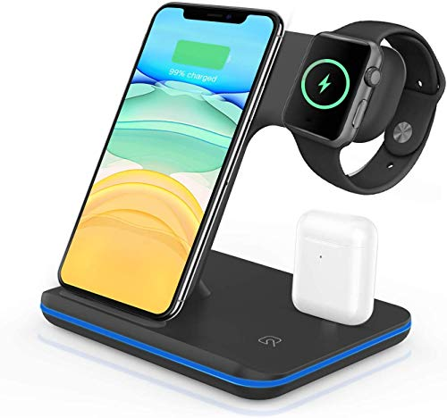vcloo Wireless Charger, 3 in 1 Qi 15W Fast Wireless Charging Stand for Airpods Apple Watch, Wireless...