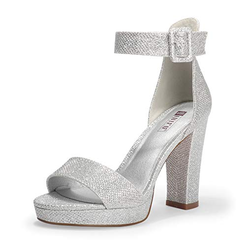 IDIFU Women's IN4 Sabrina Platform Chunky High Heels Ankle Strap Heeled Sandals Wedding Party Dress Shoes (Silver Glitter, 9.5)
