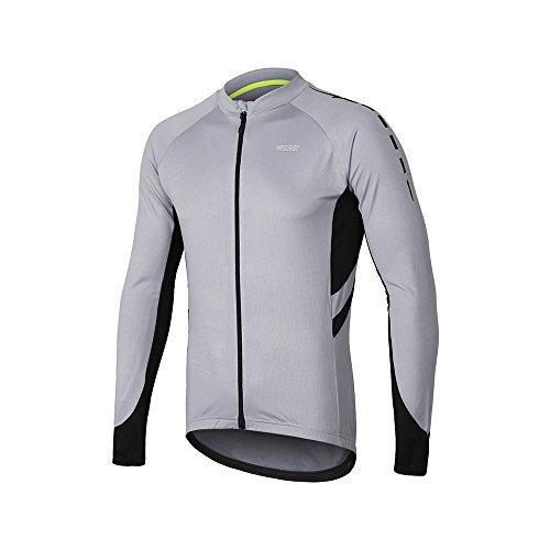 ARSUXEO Maillot de Ciclismo para Hombre Camisa de Manga Larga con Cremallera Completa y Bolsillos 6030 Gris Claro M