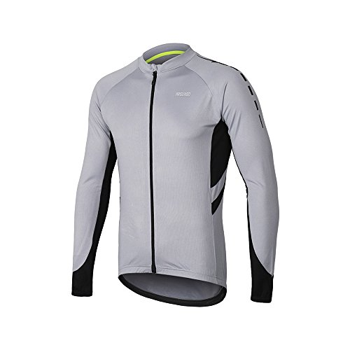 ARSUXEO Men's Full Zipper Long Sleeves Cycling Jersey Bicycle MTB Bike Shirt 6030 Light Gray Size L