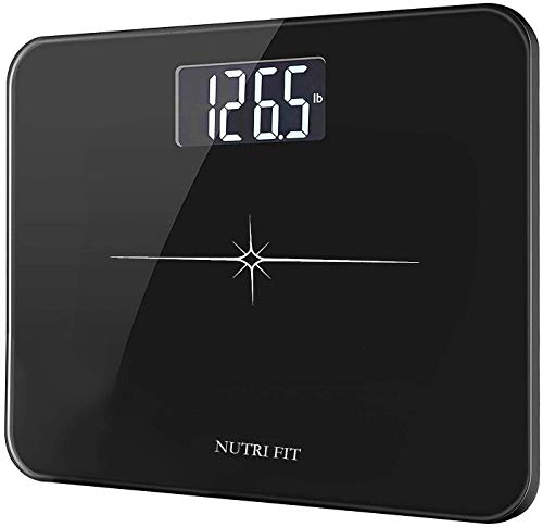 NUTRI FIT Digital Personenwaage mit Extra große 13,7-Zoll-Plattform, Step-on-Auto-Off-Technologie, Capazität 180 kg/400 lb, 6mm Gehärtetes Glas und Großes LCD-Display (Schwarz)