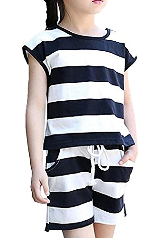子供服2点セット シャツ パンツ ショートパンツ 女の子  子供用 キッズ 韓国子供服 二点セット 上下セット セットアップ パンツセット (110)