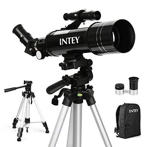 INTEY Télescope Astronomique F400mm, Grossissement (67X, 16X) Oculaire Kellner (K6mm, K25mm), Objectif de 70mm, Cadeau pour Enfants/Débutants, Trépied Réglable et Sac à Dos, Explorer le Ciel/la Nature