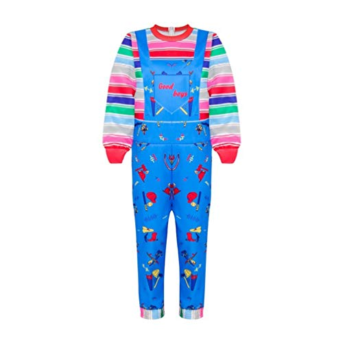 Toddler Kid Girls Boys Chucky Cosplay Costume,Rainbow Pretended Suspender Overalls Dresses (Jumpsuit, 100--3-4 Years)