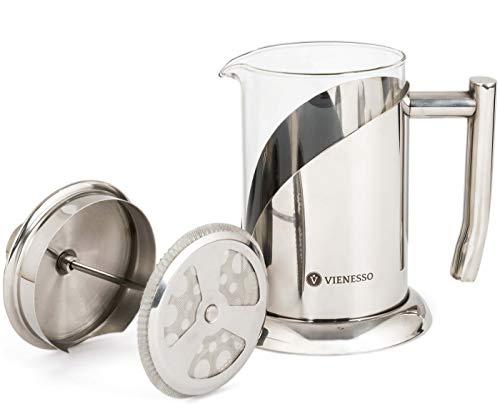 VIENESSO French Press Kaffeebereiter aus Glas und Edelstahl (800 ml | 4 Tassen) | Edle Kaffeepresse inkl. 2 Ersatzfilter - Coffee Press für zu Hause, Kanne + Barista E-Book