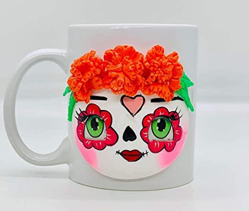 Taza de café de cerámica Catrina hecha a mano, taza de café feliz, cada taza es única (rojo)