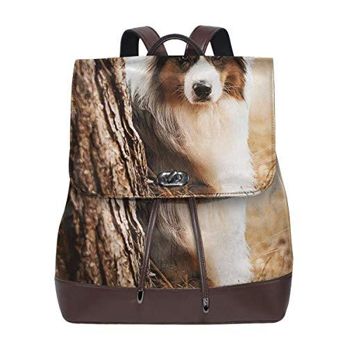 SGSKJ Rucksack Damen Australischer Schäferhund, Leder Rucksack Damen 13 Inch Laptop Rucksack Frauen Leder Schultasche Casual Daypack Schulrucksäcke Tasche Schulranzen