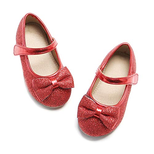 Toddler Little Girl Red Mary Jane Dress Shoes - Ballet Flats for Girl Party School Shoes(Red,7 Toddler