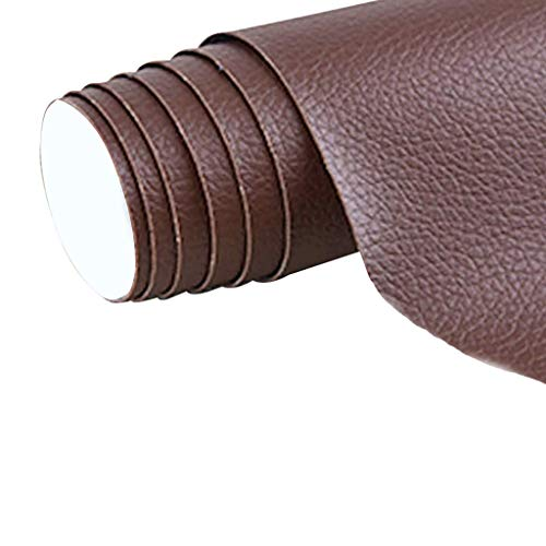 Parche de cuero Gudong, un rollo de parche de cuero autoadhesivo, cuero artificial de bricolaje para el asiento del automóvil, sofá, reparación y renovación de cuero, 42 x 137 cm (marrón)