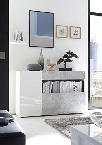 Mobile Contenitore Mobiletto Ingresso Moderno NIKE Bianco Lucido Effetto CEMENTO Soggiorno