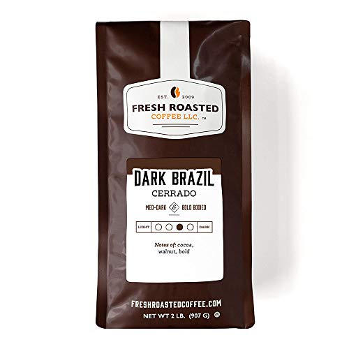 Fresh Roasted Coffee LLC, Dark Brazil Cerrado Coffee, Medium-Dark Roast, Whole Bean, 2 Pound Bag