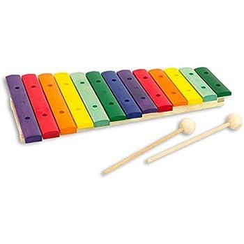 Xylophon mit 13 Klangplatten und 2 Schlägeln für Kinder Aluminium Metallophon