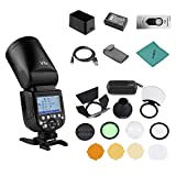 Godox V1-N Professional Camera Flash Speedlite Speedlight Round Head Wireless 2.4G Fresnel Zoom for Nikon D5300 D750 D850 D7100 Z7Cameras Camcorder + Godox AK-R1 Pocket Flash Light Accessories Kit