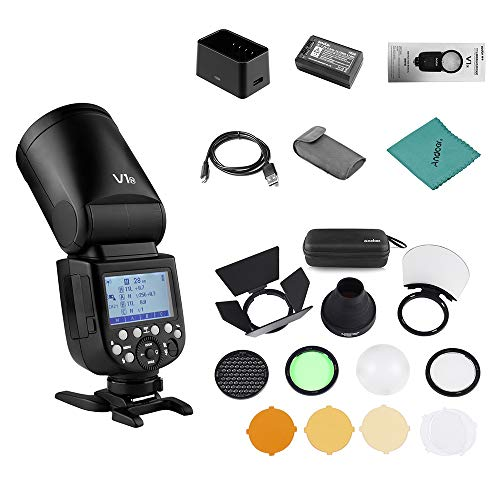 Godox V1-N Professional Camera Flash Speedlite Speedlight Round Head Wireless 2.4G Fresnel Zoom for Nikon D5300 D750 D850 D7100 Z7Cameras Camcorder + Godox AK-R1 Pocket Flash Light Accessories Kit