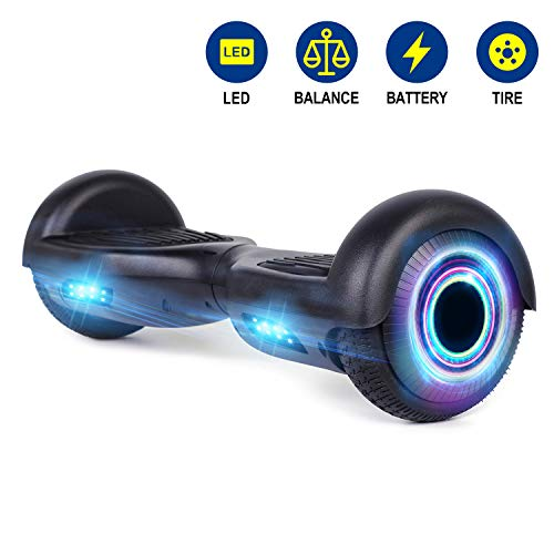 YHR Hoverboard UL 2272 Certified Two Wheel Electric Scooter Colorful Led Side Light Smart Self- Balancing Scooter (Black)