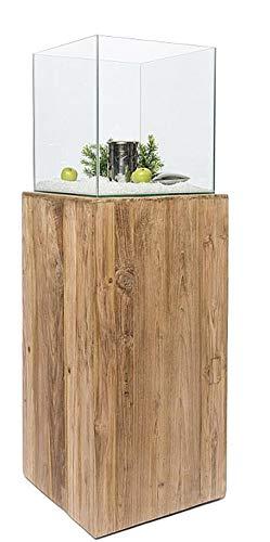 JonaFire Standfeuer Feuersäule Bio-Ethanol Glas Teakholz Indoor & Outdoor Dekoration Teak