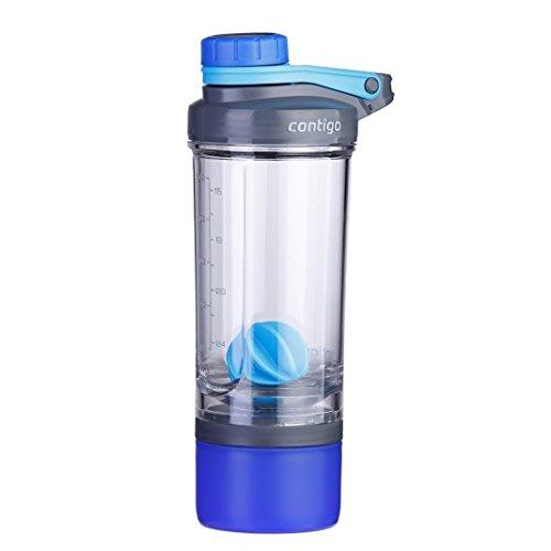 Contigo Shake and Go FIT Compartment Botella de Hidratación, Unisex Adulto, Azul (Carolina Blue), Talla Única
