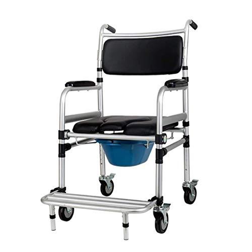 SGSG Commode Stuhl mit Rädern, höhenverstellbar, klappbarer Toilettenstuhl, Duschstuhl.Für ältere/Schwangere/behinderte, extra breite Kommode