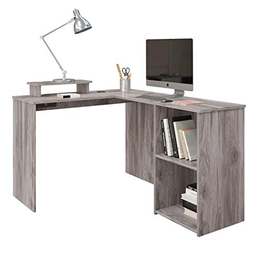 L-Shape Computer Desk with Shelves Storage,Wood Corner Desk with Wireless Charger Office Desk Workstation PC Gaming Desk Study Table for Home,135x112cm (Gray)
