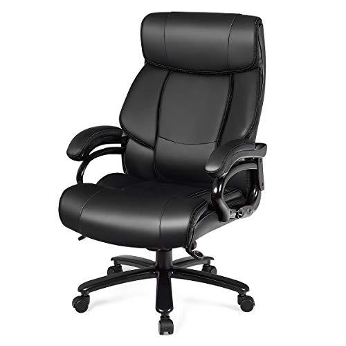 COSTWAY Chefstuhl Bürostuhl, Drehstuhl mit Verstellbarer Höhe und Winkel, Chefsessel Computerstuhl 180KG Tragkraft