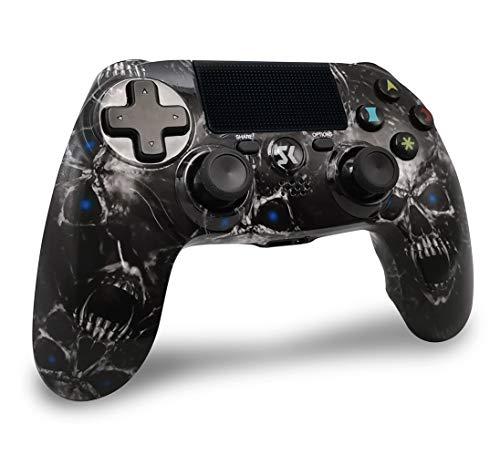 Mando PS4 Inalambricos, Mando para PS4 Inalámbrico Dual Shock Gamepad de Doble Vibración SIX-AXIS con Touch Pad y Conector de Audio para PlayStation 4 / PS3 / PC (Cráneo Negro)