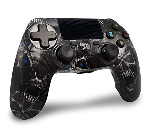 Mandos PS4 Inalambricos, Controlador PS4 Inalámbrico Dual Shock Gamepad de Doble Vibración SIX-AXIS con Touch Pad y Conector de Audio para PlayStation 4 / PS3 / PC (Cráneo Negro)
