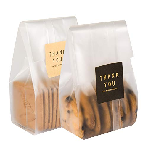 100 Pcs Translucent Plastic Bags Cookie Treat Bags with Stickers for cookies, snacks,chocolates