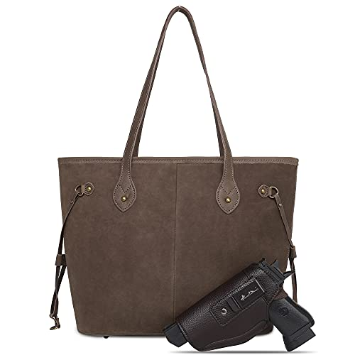 Large Real Leather Concealed Carry Tote Bag For Women Shoulder Handbag Fashion CCW Purse With Holster MWUSA MWL-G002CF